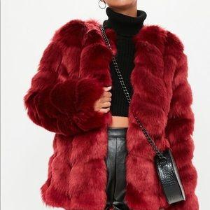 Red faux fur bubble coat